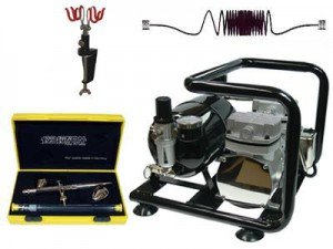 Airbrushkomplettset Komplettset Evolution Silverline two in one + Saturn a40 +Schlauch + 2-fach Halter