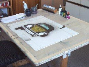 Arbeitstisch für Airbrushmalerei auf Karton Marten gesendet 09.11.2014