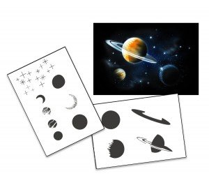 Step by Step Airbrush Schablone Planeten Sterne Galaxie