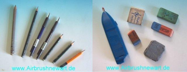 Bleistifte und Radiergummi